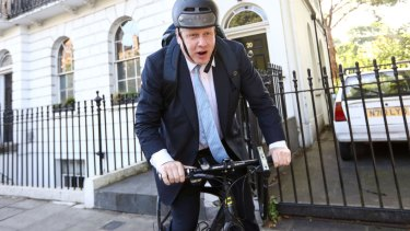 Boris Johnson on his bike.