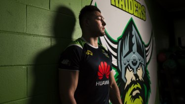 Canberra Raiders winger Nic Cotric is in the Blues frame. Photo: Jamila Toderas