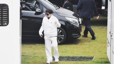 Jackie Chan on the Bleeding Steel set at Moore Park in 2016.