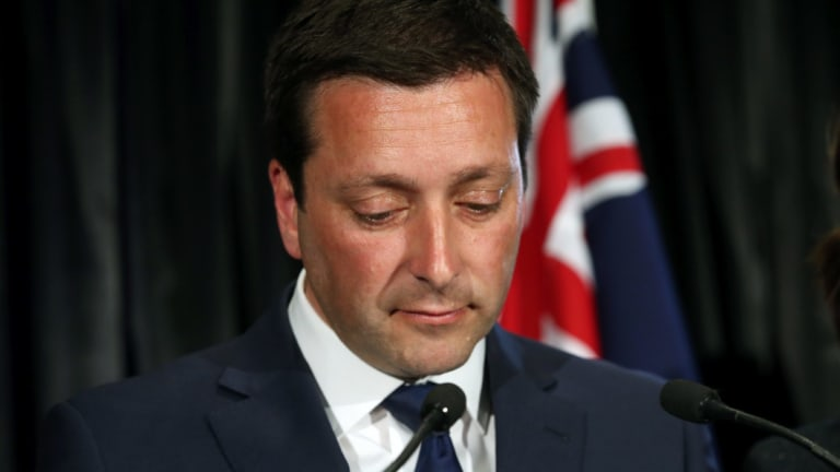Liberal leader Matthew Guy ponders his party's massive defeat in the Victorian election.