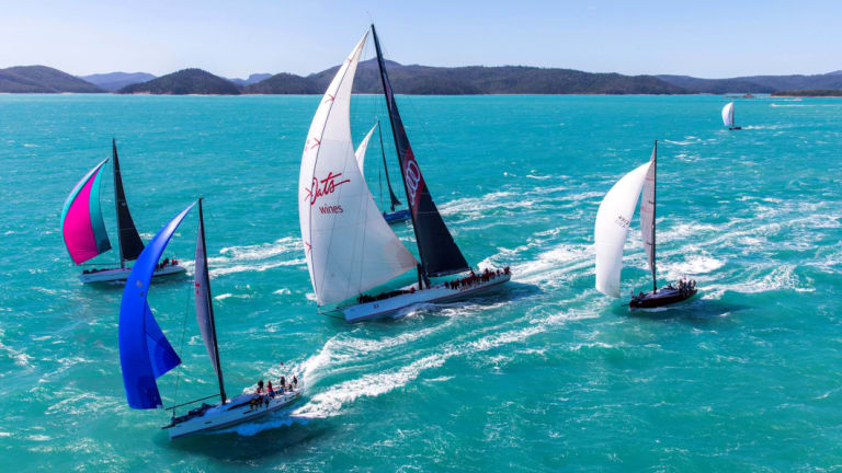 Wild Oats racing off Hamilton Island.