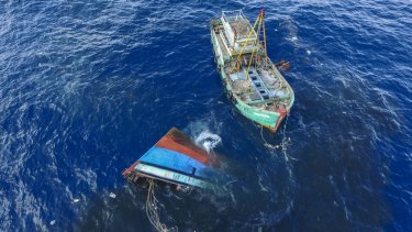Illegal boats are sunk by Indonesian authorities in Natuna in 2016.