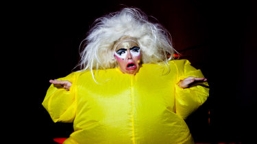 "'I'm a cake - I'm no mere trifle"": Sarah Ward as Queen Kong singing I'm a Blancmange."