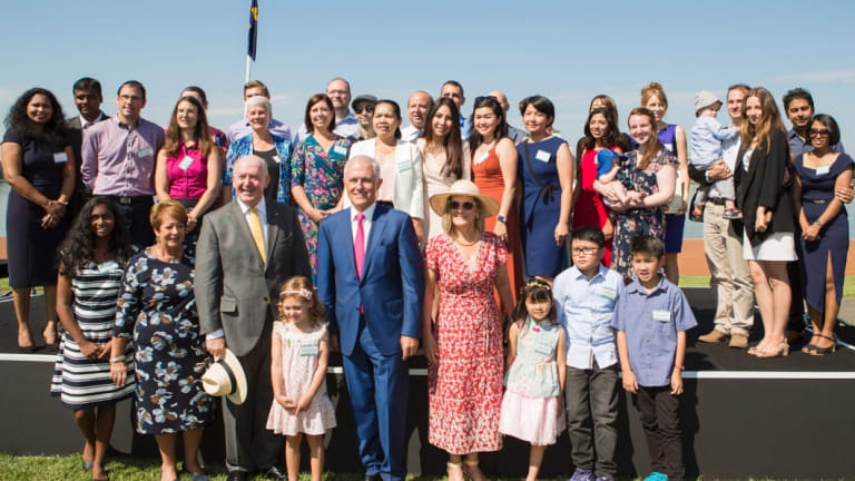 Malcolm and Lucy Turnbull, with Governor-General Peter Cosgrove, at a Canberra citizenship ceremony.