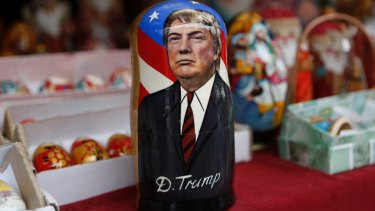 A traditional wooden Matryoshka doll depicting President-elect Donald Trump is displayed at a shop in Kiev, Ukraine, during the 2016 election campaign.