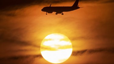 The sun sets in Frankfurt, Germany, as extreme heat spreads across Europe.