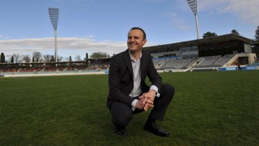 ACT Chief Minister Andrew Barr at Manuka Oval.