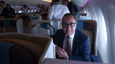 Alan Joyce on an A350-1000 during a test flight in Sydney in February.