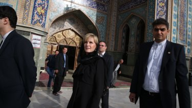 Former foreign affairs minister Julie Bishop in Iran in 2015.