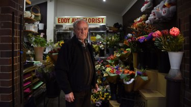 Florist Emmanuel Theoharis in his flower shop in the days after the 2017 incident.