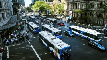 Buses along George Street on October 2, 2015 - the last business day before the road was closed for light rail construction.