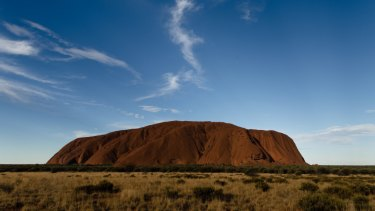 Visitors to Uluru complained their view of the rock was being obscured by a giant white blimp.