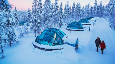 Glass igloos at Kakslauttanen Arctic Resort, Lapland, Finland.