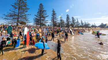Surfers attend the 'Fight for the Bight' protest in Torquay.