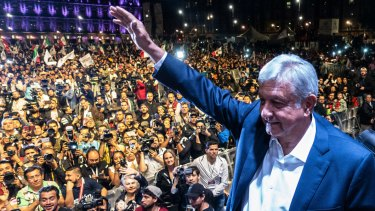 Andres Manuel Lopez Obrador, winner of Mexico's presidential election at a rally in July.