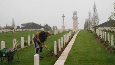 A gardener at the Australian memorial, Sir John Monash Centre, at Villers-Bretonneux in north-eastern France.