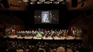 The Sydney Symphony Orchestra performing at the state memorial service for former Prime Minister Bob Hawke.