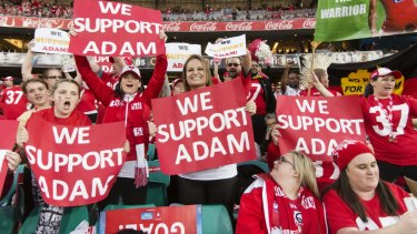 Strong support: Sydney Swans fans back Adam Goodes in 2015 amid the booing scandal.