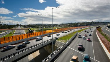 Traffic on EastLink, where a shooting took place on Saturday morning.