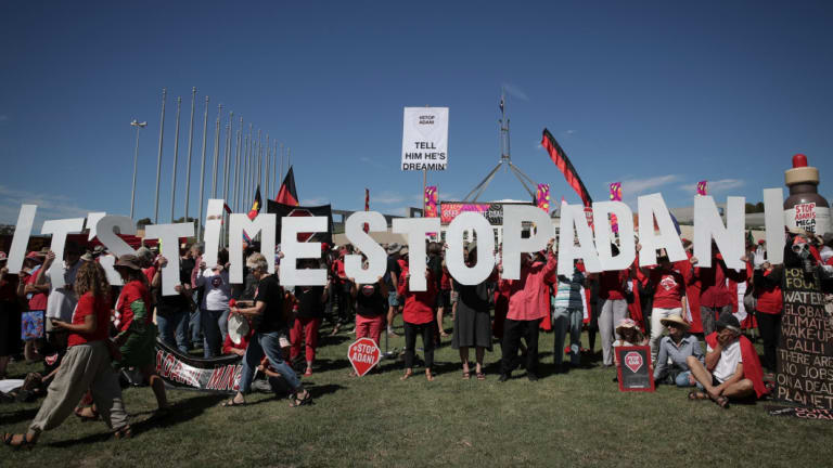 Adani protestors on the front lawn of Parliament House in Canberra in February this year.