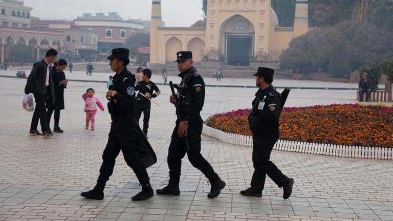 Security personnel in Xinjiang.