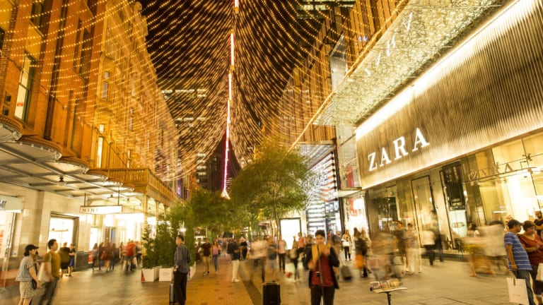 Pitt Street Mall lights, the city of Christmas in Sydney.