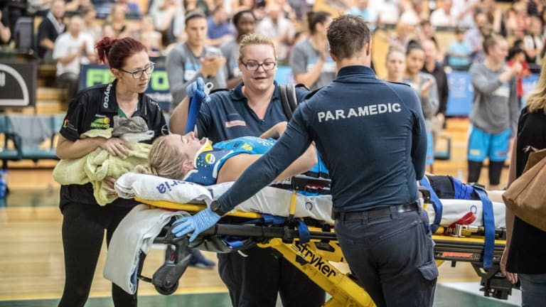 Rachel Jarry was stretchered from the court following a collision last season.