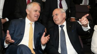 Former prime minister John Howard with Malcolm Turnbull.