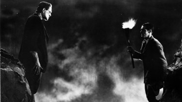 Boris Karloff, left, and Colin Clive in a scene from the 1931 classic film <i>Frankenstein</i>.