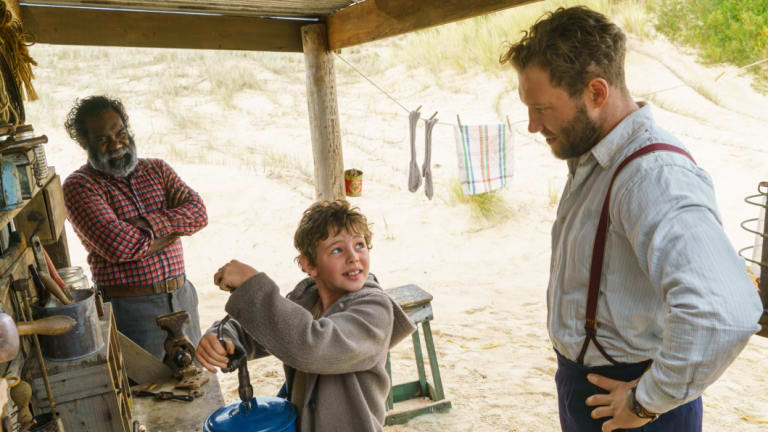 Trevor Jamieson as Fingerbone Bill, Finn Little as Storm Boy and Jai Courtney as Hideaway Tom in Storm Boy.