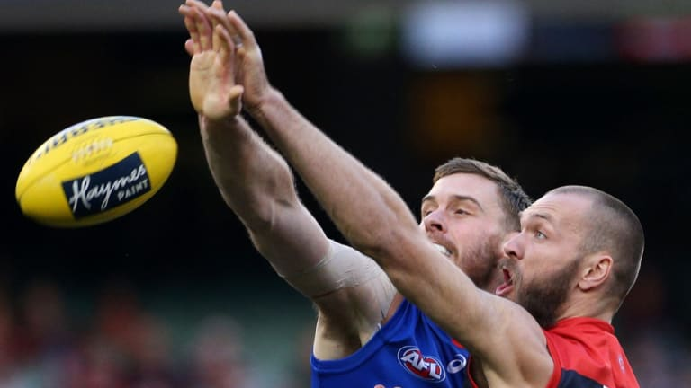 Jordan Roughead of the Bulldogs competes in the ruck with Demons big man Max Gawn.