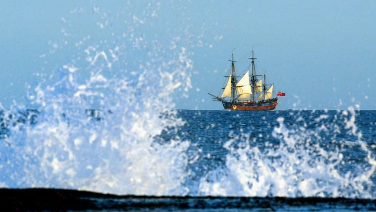 The Endeavour replica heads up the coast off Sydney in 2005.