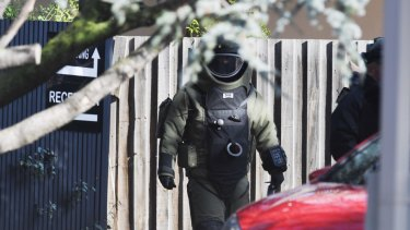 The bomb squad at the scene of a terror stand-off in Brighton last year.