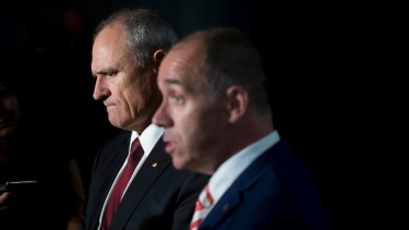 NAB chairman Ken Henry and CEO Andrew Thorburn received a slap from commissioner Kenneth Hayne.