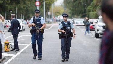 New Zealand police secure the area near the Masjid Al Noor Mosque in Christchurch on Saturday after a terror attack by a gunman killed 49 people.