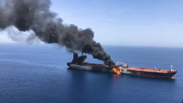 An oil tanker is on fire in the Sea of Oman. A series of attacks on oil tankers near the Persian Gulf has ratcheted up tensions between the US and Iran .