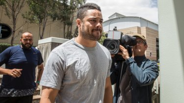 How the mighty have fallen: Jarryd Hayne reports to Castle Hill police station.