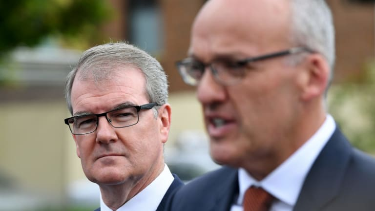 Former Labor leader Luke Foley, right, with his successor Michael Daley.
