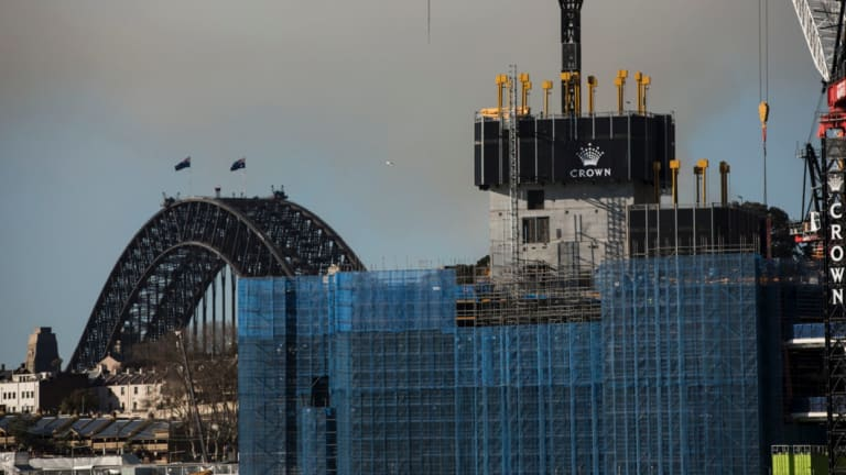 A view from Pyrmont of Crown Casino being constructed at Barangaroo in Sydney on August 9, 2018. Photo: Dominic Lorrimer