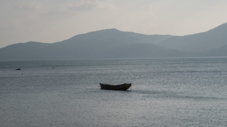 Boats off of South Andaman Island in India.