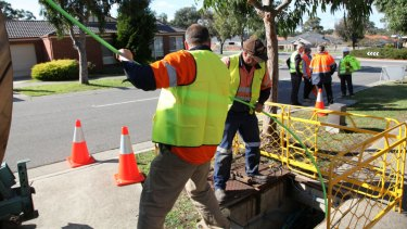 NBN fibre optic cable rollout in South Morang, northers suburbs of Melbourne,