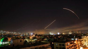 Missiles streak across the Damascus skyline as the U.S. launches an attack on Syria targeting different parts of the capital.