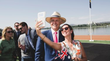 Malcolm Turnbull takes part in a citizenship ceremony on Australia Day this year.