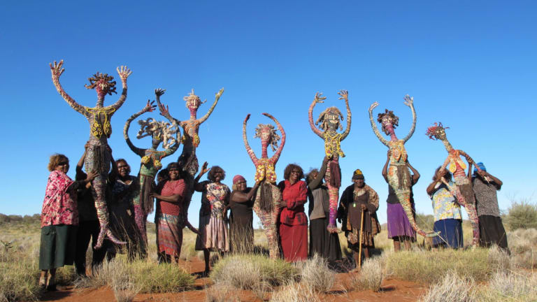 Tjanpi Desert weavers, Seven Sisters are Flying, on their way to Canberra.