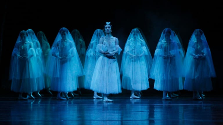 """Myrtha (Ako Kondo),centre and the Wilis in the second act of the Australian Ballet's 2015 production of """"Giselle"""" photo Jeff Busby"""