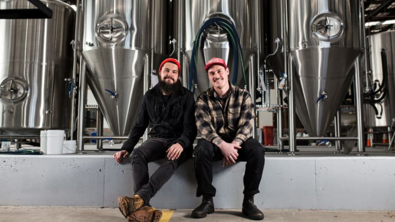 Dan Skeehan and Wade Hurley in the Capital Brewing Co brewery.