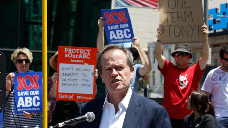 Opposition Leader Bill Shorten at an ABC rally in Melbourne in 2014.