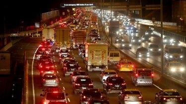 The Calder Freeway at night.