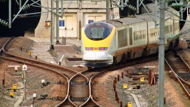 UK-France English Channel traffic was disrupted. A Eurostar train enters the Channel Tunnel in Calais.
