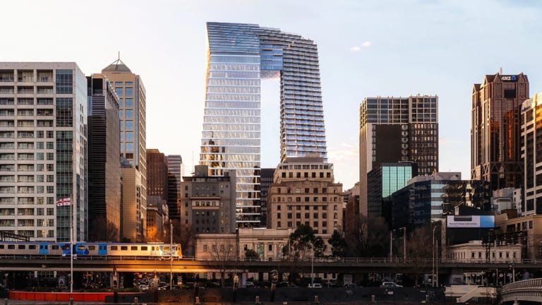 The towers proposed for Collins Street, known as the ''Pantscraper'', is on the old National Mutual site - rejected for heritage protection.
